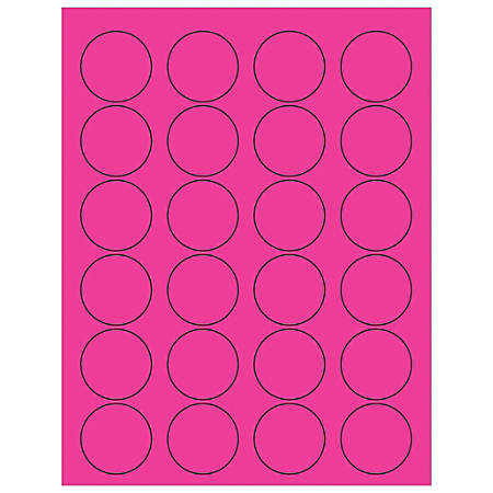 """Office Depot® Brand Labels, LL193PK, Circle, 1 5/8"""", Fluorescent Pink, Case Of 2,400"""