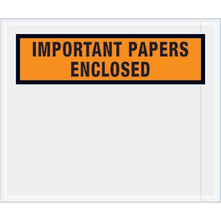 "Tape Logic® Preprinted Packing List Envelopes, Important Papers Enclosed, 10"" x 12"", Orange, Case Of 500"