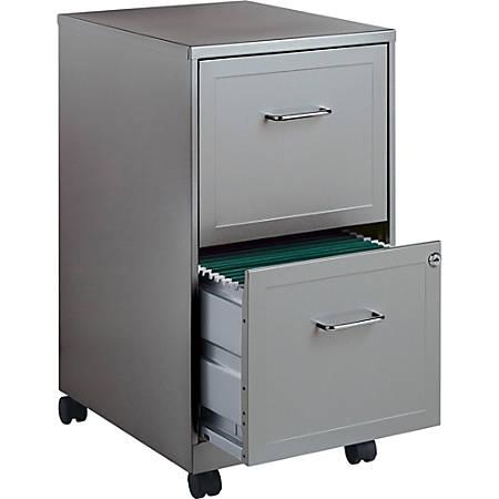 """Lorell® SOHO 18""""D Vertical 2-Drawer Mobile File Cabinet, Light Gray"""