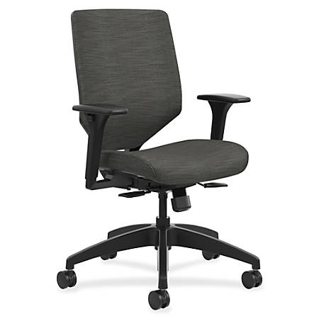 "HON Solve Task Chair, Upholstered Back - Fabric Seat - Fabric Charcoal Back - Black Frame - 5-star Base - 29.8"" Width x 29"" Depth x 42"" Height"