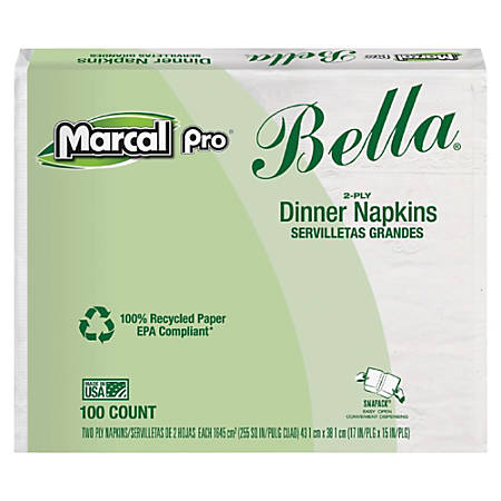 """Marcal® Eminence Bella 100% Recycled Dinner Napkins, 2-Ply, 17"""" x 15"""", White, Case Of 100"""