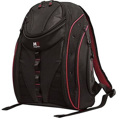 """Mobile Edge Express MEBPE72 Carrying Case (Backpack) for 17"""" MacBook - Black, Red - Ballistic Nylon - Shoulder Strap - 20"""" Height x 16"""" Width x 8.5"""" Depth"""