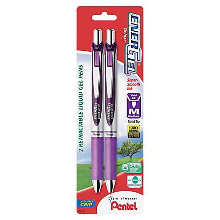 Pentel® EnerGel™ RTX Retractable Gel Pens, Medium Point, 0.7 mm, Violet/Silver Barrel, Purple Ink, Pack Of 2 Pens