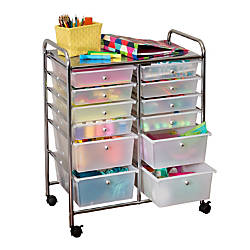Honey-Can-Do CRT-01683 12-Drawer Studio Organizer Cart, Chrome Item # 227289 | Tuggl