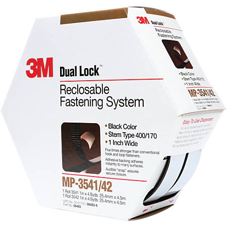 "3M™ MP3541/42 Dual Lock™ Fasteners, 1"" x 15', Black, Case Of 5"