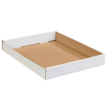 """Office Depot® Brand Corrugated Trays, 1 3/4""""H x 12""""W x 15""""D, White, Pack Of 50"""