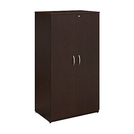 "Bush Business Furniture Easy Office Wardrobe Storage Cabinet, 36""W, Mocha Cherry, Premium Installation"