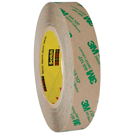 """3M™ 468MP Adhesive Transfer Tape, 3"""" Core, 1"""" x 60 Yd., Clear, Case Of 6"""
