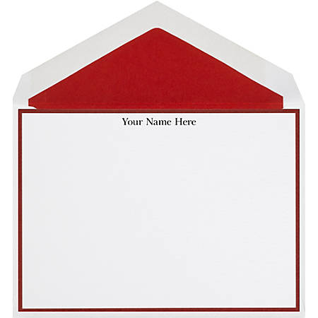 "The Occasions Group Stationery Note Cards, 4 1/2"" x 6 1/4""W, Folded, Claret Border, White Matte, Box Of 25"