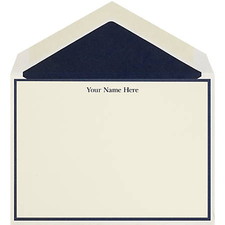 """The Occasions Group Stationery Note Cards, 4 1/2"""" x 6 1/4""""W, Flat, Midnight Border, Ecru Matte, Box Of 25"""