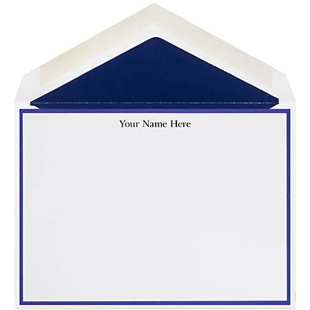 """The Occasions Group Stationery Note Cards, 4 1/2"""" x 6 1/4""""W, 30% Recycled, Flat, Midnight Border, White Matte, Box Of 25"""
