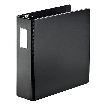 """Cardinal® SuperStrength™ Reference Binder With Slant-D® Rings And Label Holder, 3"""" Rings, 45% Recycled, Black"""