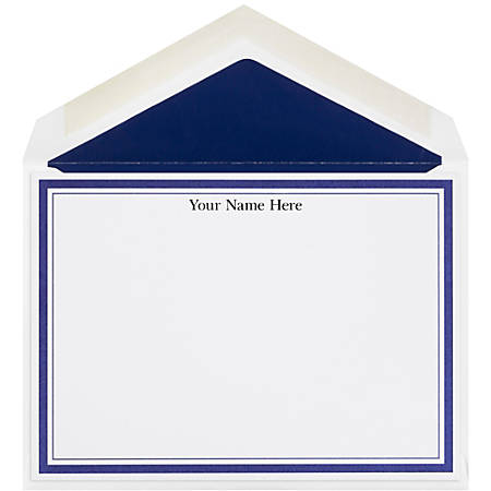 "The Occasions Group Stationery Note Cards, 4 1/2"" x 6 1/4""W, Flat, Midnight Double Border, White Matte, Box Of 25"