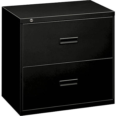 "HON 2-Drawer Lateral File - 36"" x 19.8"" x 28.4"" - 2 x Drawer(s) for File - A4, Legal, Letter - Lateral - Ball-bearing Suspension, Interlocking, Leveling Glide - Black - Steel"