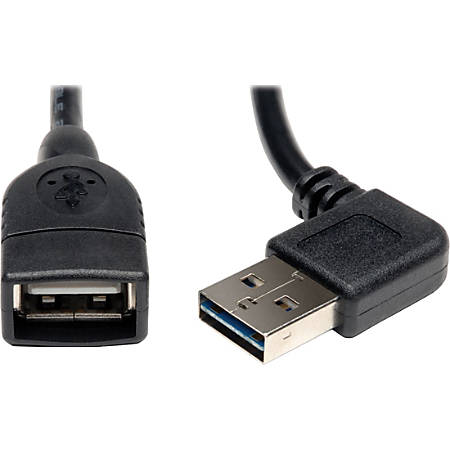 Tripp Lite 18in USB 2.0 High Speed Extension Cable Reversible Right/Left Angle A to A M/F