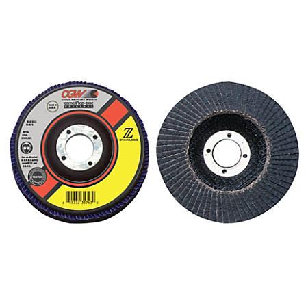 "Flap Discs, Z-Stainless, Regular, 4 1/2"", 60 Grit, 7/8 Arbor, 13,300 rpm, T27"