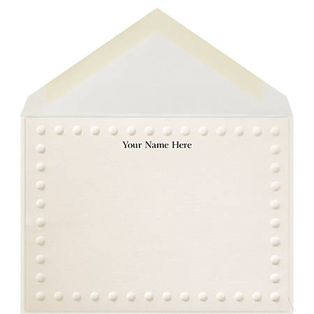 """The Occasions Group Stationery Note Cards, 4 1/2"""" x 6 1/4""""W, Folded, Bold Dot Border, Ecru Matte, Box Of 25"""