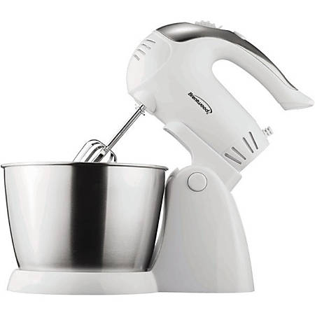Brentwood 5-Speed Stand Mixer With Stainless Steel Bowl, White/Stainless Steel