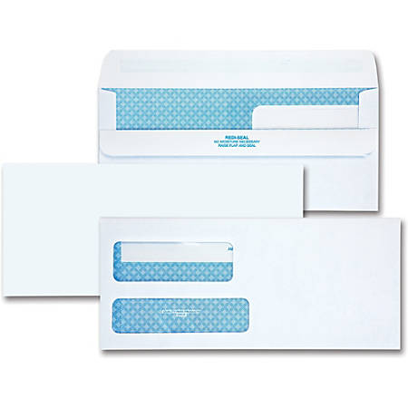 Quality Park No. 9 Redi-Seal Security Envelopes - Security - #9 - Adhesive - 250 / Box - White