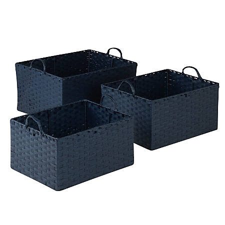 Honey-Can-Do Paper Rope Stacking Baskets, Blue, Set Of 3