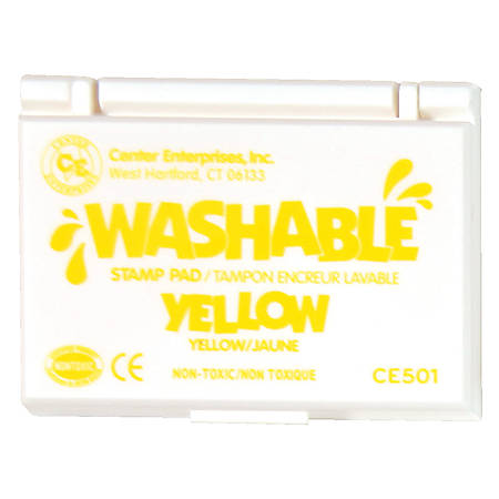 "Center Enterprise Washable Stamp Pads, 2 1/4"" x 3 3/4"", Yellow, Pack Of 6"