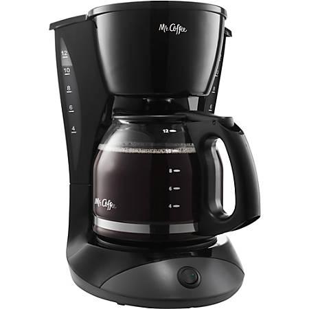 """Mr. Coffee 12-Cup Coffeemaker, 12 5/8""""H x 11 13/16""""W x 8 7/16""""D, Black"""