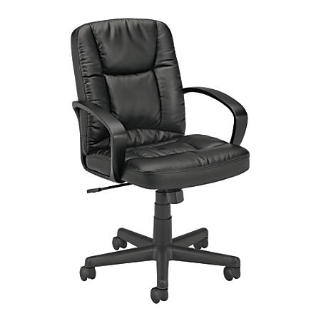 "basyx by HON® Executive Pneumatic Mid-Back Leather Chair, 38 3/4""H x 19 1/4""W x 17 3/4""D, Black Frame, Black Leather"