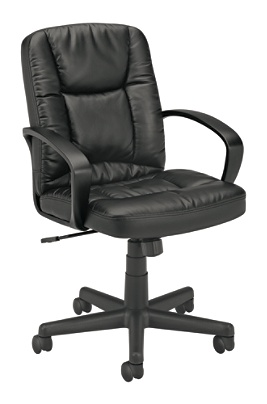 basyx by hon executive pneumatic mid back leather chair 38 34 h x 19