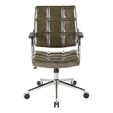 LumiSource Bureau Contemporary Faux Leather Office Chair, Green/Chrome