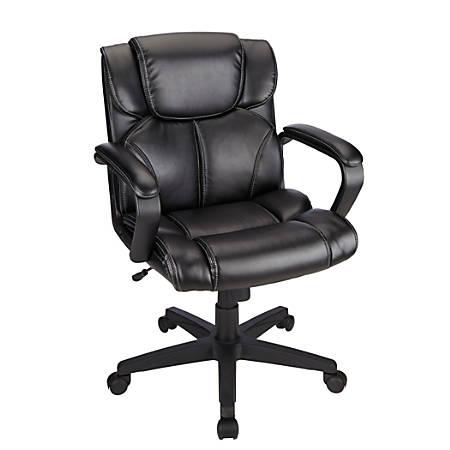 Brenton Studio® Briessa Vinyl Mid-Back Chair, Black