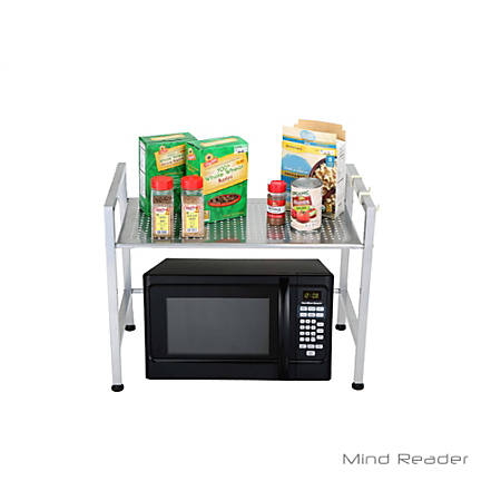 Mind Reader Metal-Top Microwave Shelf Counter Unit With 2 Hooks, Silver