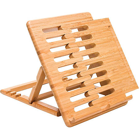 """Lipper Bamboo Expandable iPad Stand - 2.4"""" x 8"""" x 10"""" x - Bamboo - 1 - Brown"""