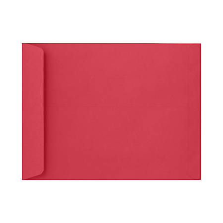"""LUX Open-End Envelopes With Peel & Press Closure, #9 1/2, 9"""" x 12"""", Holiday Red, Pack Of 500"""