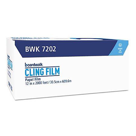 "Boardwalk® PVC Food Wrap Film, 12"" x 2,000', Clear"