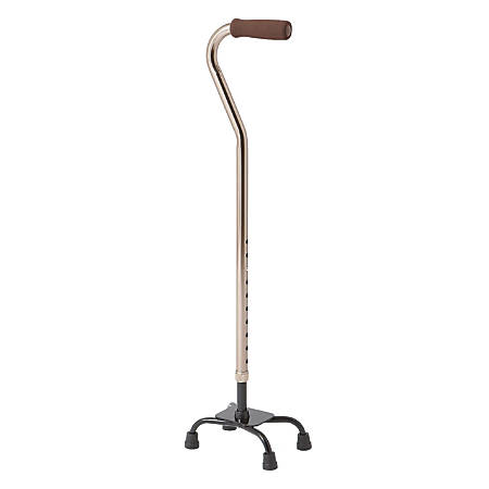 Medline Quad Canes, Small Base, Bronze, Case Of 2
