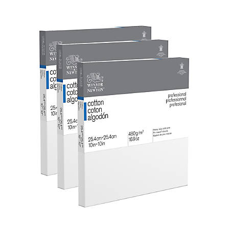 """Winsor & Newton Professional Cotton-Stretched Traditional Canvases, 10"""" x 10"""", White, Pack Of 3"""