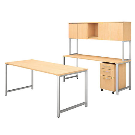 """Bush Business Furniture 400 Series 72""""W x 30""""D Table Desk And Credenza With Hutch And 3 Drawer Mobile File Cabinet, Natural Maple, Standard Delivery"""