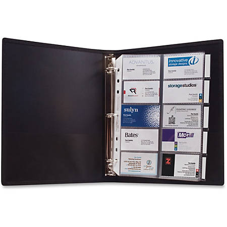"Anglers 3-Ring Business Card Binder - 1000 Capacity - 8.50"" Width x 11"" Length - 3-ring Binding - 5 x Tab(s) - Refillable"