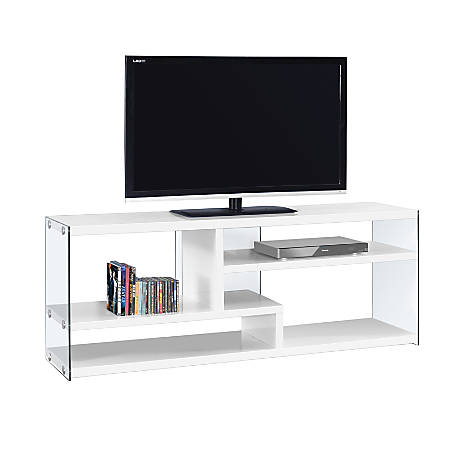 "Monarch Specialties TV Stand, Glass, For Flat-Screen TVs Up To 60"", Glossy White"