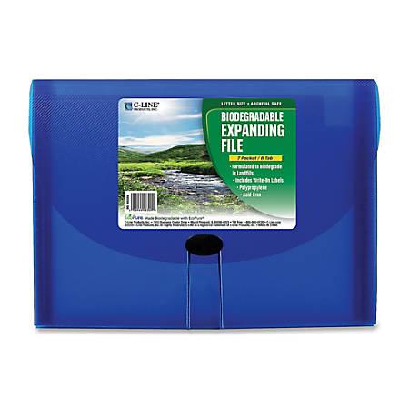 C-Line® 7-Pocket Expanding File, Letter Size, Blue