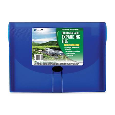 C-Line® 13-Pocket Expanding File, Letter Size, Blue