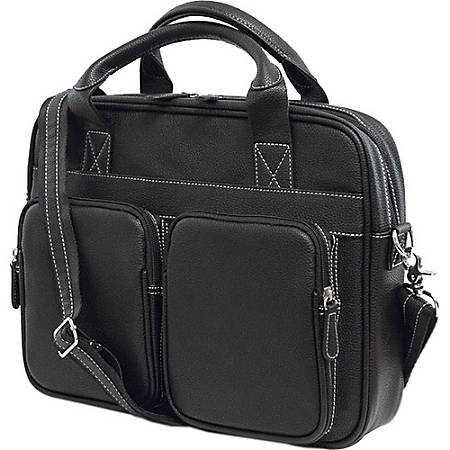 """Mobile Edge The Tech MEBCT1 Carrying Case (Briefcase) for 15"""" Notebook - Black - Bump Resistant Interior, Scratch Resistant Interior - Vegan Leather, Cotton Twill Interior, Poly Fur Interior - Shoulder Strap, Handle - 11"""" Height x 15.5"""" Width x 3.5"""" Depth"""