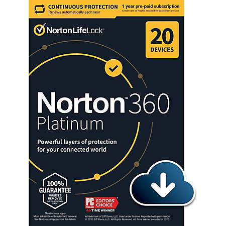 Norton 360 Platinum 20 Device  1-Year Subscription with Auto Renewal (Download Code)
