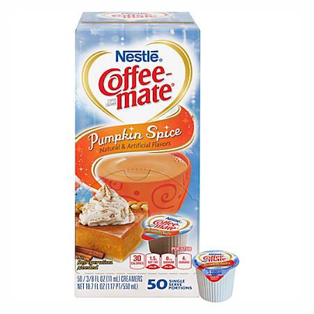 Nestle® Coffee-mate® Liquid Creamer Singles, Pumpkin Spice, 0.38 Oz, Box Of 50