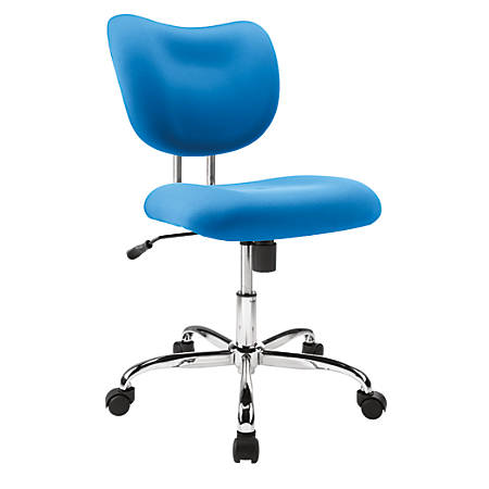 Brenton Studio® Jancy Mesh Low-Back Fabric Task Chair, Blue/Chrome