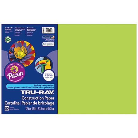 "Tru-Ray® Construction Paper, 50% Recycled, 12"" x 18"", Brilliant Lime, Pack Of 50"