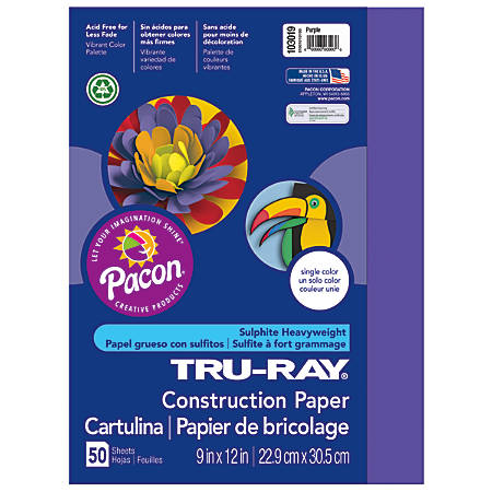 "Tru-Ray® Construction Paper, 50% Recycled, 9"" x 12"", Purple, Pack Of 50"