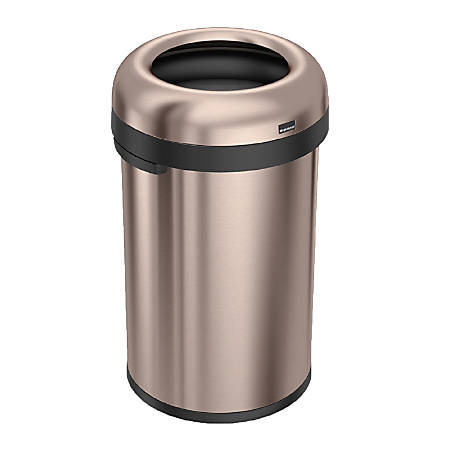 simplehuman® Bullet Open Trash Can, 21 Gallons, Rose Gold Steel