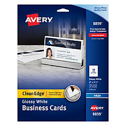 Avery inkjet clean edge business cards 2 sided 2 x 3 12 white gloss avery inkjet clean edge business cards 2 sided 2 x 3 12 white gloss pack of 200 by office depot officemax reheart Choice Image