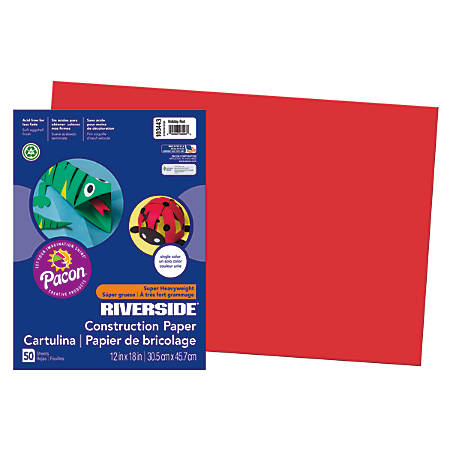 "Riverside® Groundwood Construction Paper, 100% Recycled, 12"" x 18"", Holiday Red, Pack Of 50"